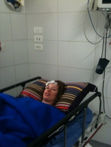 Kim Mann in Hospital post accident