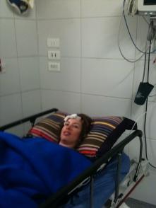 Kim Mann in Hospital post accident